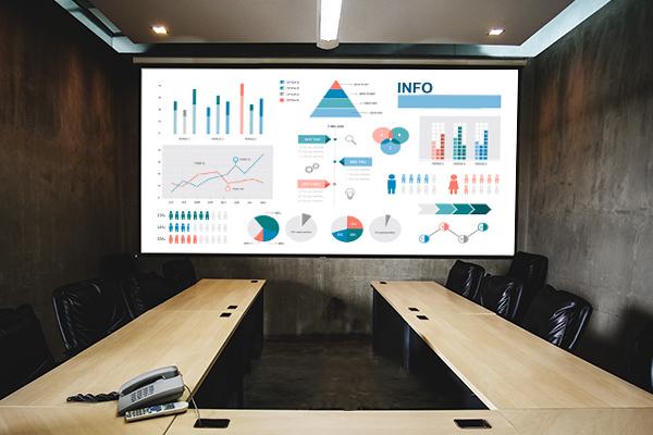 écran en salle de réunion