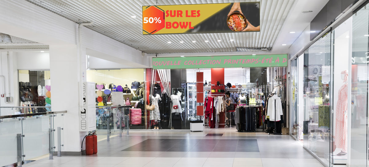 Ecrans banner centre commercial